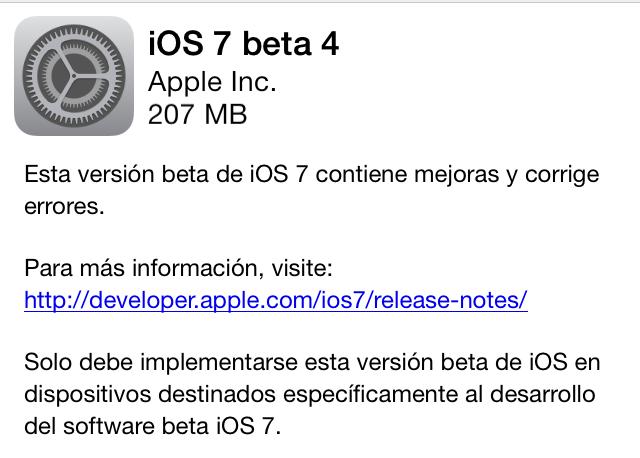 iOS 7 Beta 4 Actualización