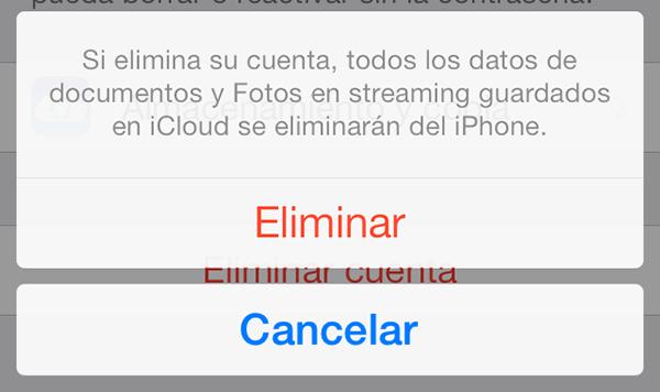 Eliminar Cuenta iCloud iOS 7