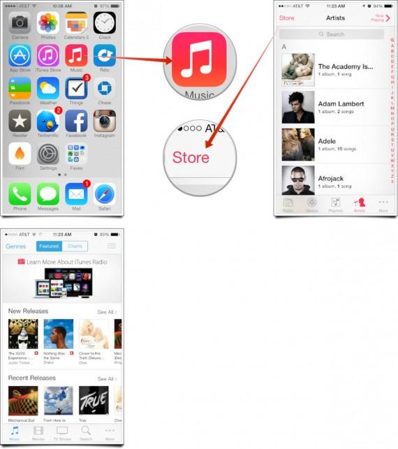 iOS 7 iTunes Store Crash - Acceder App Musica