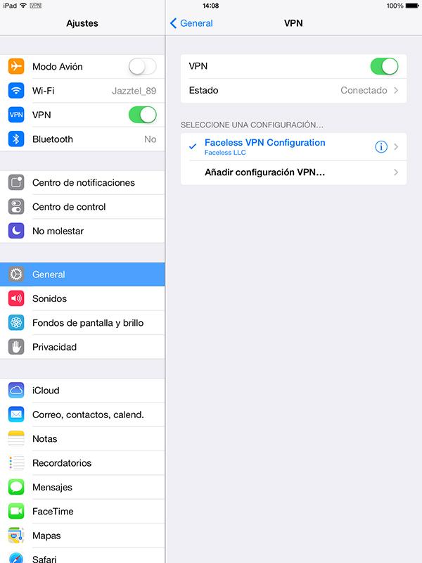 FacelessME - VPN Ajustes iOS