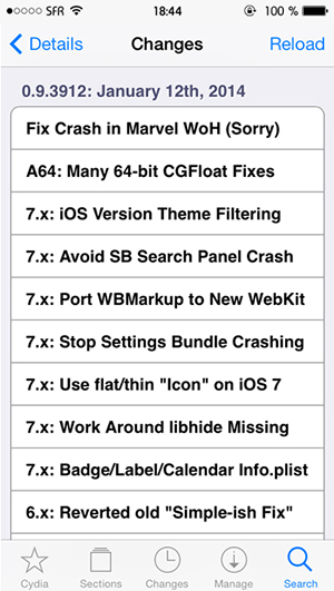 WinterBoard iOS 7 Detalles
