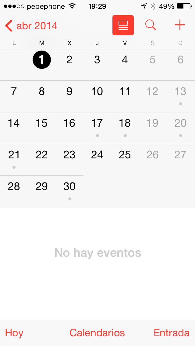 Calendario iOS 7.1 - screenshot 2