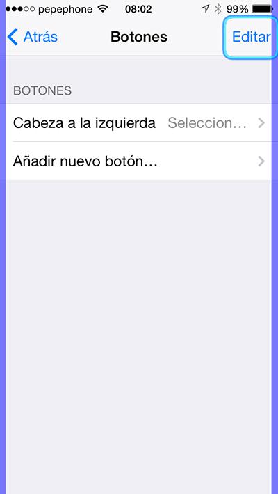 Controlar iPhone Cabeza - Botones