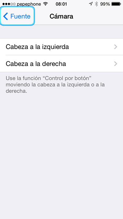 Controlar iPhone Cabeza - Camara