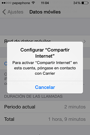 No Puedo Compartir Internet iPhone iOS 7.1 - screenshot 2