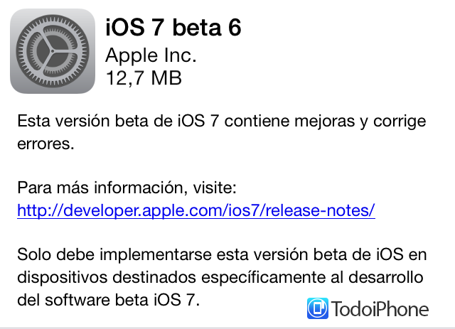 Disponible iOS 7 Beta 6 para iPhone, iPod touch, iPad y iPad mini