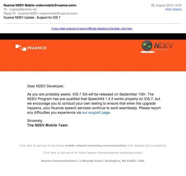 Nuance Email Lanzamiento iOS7