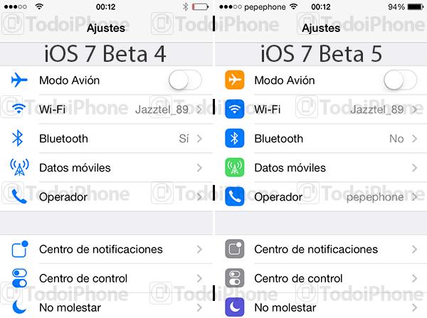 iOS 7 Beta 5 Ajustes
