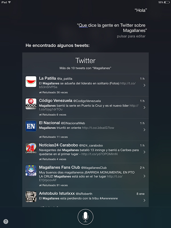 Buscar con Siri en Twitter - Busquedas