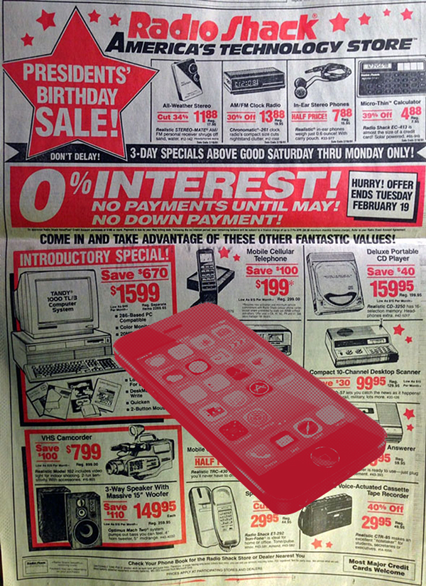 Precio iPhone 1991 Radio Shack