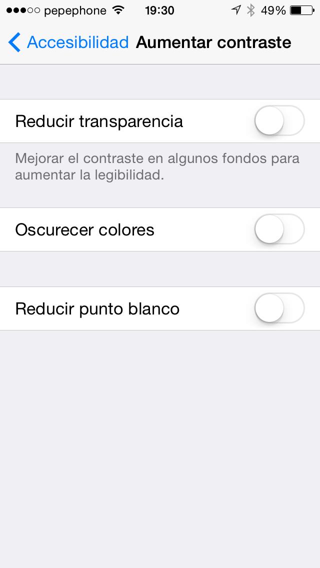 Aumentar Contraste iOS 7.1 - screenshot 2